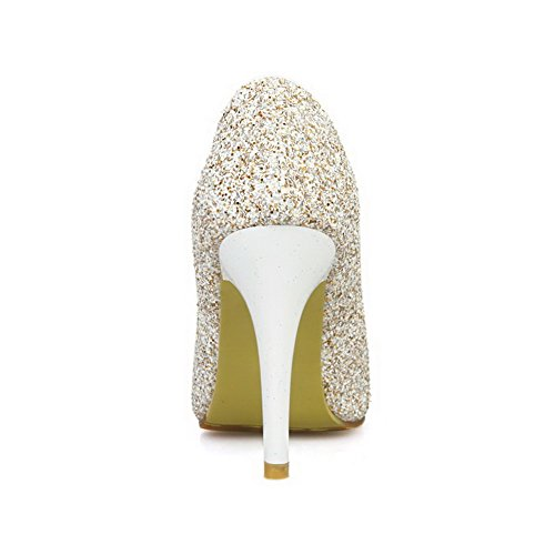 AmoonyFashion Womens Pull-On Pointed Closed Toe High-Heels Sequins Solid Pumps-Shoes Gold gQW35