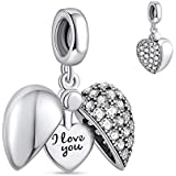 """NINGAN """"I Love You"""" Heart Pendant Love Charm 925 Sterling Silver Dangle Charms Compatible with Major European Bracelets & Nec"""