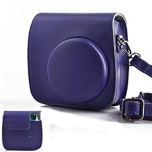 Hellohelio Fujifilm Instax Mini 9/8/8+ Camera bag, Classic Vintage PU Leather Instax Camera Compact Case For Fujifilm Instax Mini 8/8+Instant Film Camera (Grape)