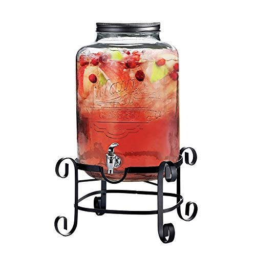 (Style Setter Main Street 210263-GB Beverage Dispenser with Stand Cold Drink with 3 Gallon Capacity Glass Jug and Leak-Proof Acrylic Spigot in Gift Box For Parties, Weddings, 11x18