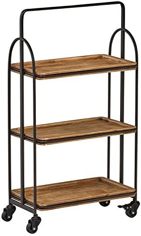 Stone Beam Industrial Rustic Arced Rolling Wood Metal Kitchen Bar Cart Island with Wheels, 37.2 Inch Height, Storage, Brown, Black