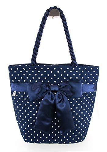 Bow Tote Bag (Navy Blue Polka Dot)