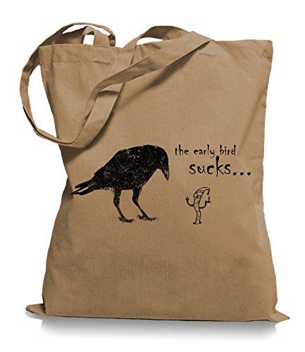 Ma2ca® The Early Bird Sucks - Jutebeutel Stoffbeutel Tragetasche / Bag WM101 Caramell F7E4EII