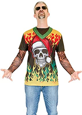 Faux Real Men's Sublimated Faux Christmas with Tattoo Long Sleeve T-Shirt