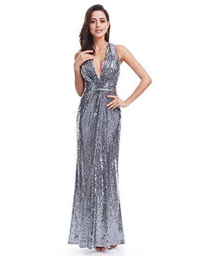 Ever-Pretty Womens Sexy V Neck Long Sequins Evening Dress 4 US Silver Grey