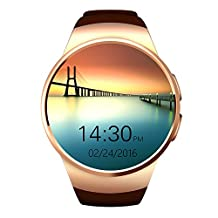 Flormoon Smartwatch 1.3 inch MTK2502C GSM IOS Android Smart Watch Phone with Camera(Gold+Brown)
