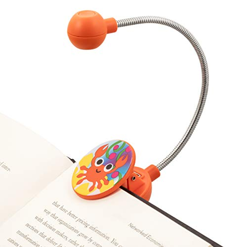 WITHit French Bull Clip On Book Light - Orange Crab - LED Reading Light with Clip for Books and eBooks, Reduced Glare, Portable, Lightweight Bookmark Light for Kids and Adults, Batteries Included