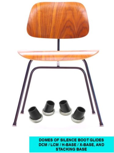GLIDES FOR EAMES HERMAN SET OF 4 MILLER DCM LCM ANGLED RUBBER BOOT GLIDES FEET PARTS FITS DCM, LCM, X-BASE, H- BASE AND STACKING CHAIR BASES