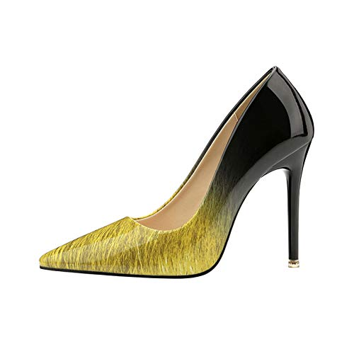 Chaussure Stiletto Haut liangxie Bureau Pompes Et Gradient Femmes Lumineux Chaussures Blanc Mince Talon Ya Yellow Noir Ai Escarpins Couleur Brillant 7wBqP58