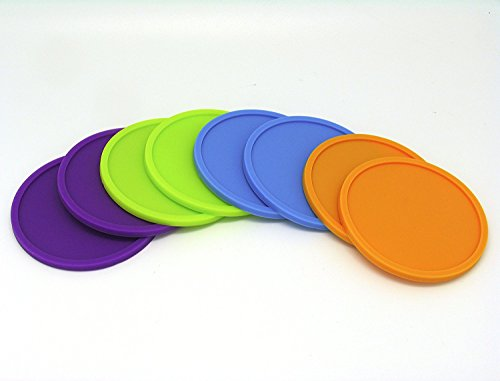 (Set of 8 Silicone Drink Coasters Non Slip Grip Great for Home, Kitchen, Office, Desk, Table - Assorted Color)