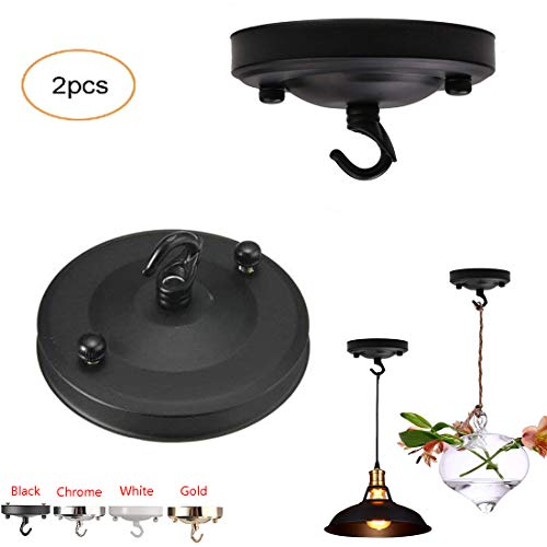 ✨Vintage Chandelier Ceiling Plate,Retro Iron Ceiling Rose Hook Plate Holder Pendant Lamp Roof Sucking Disk Chassis Light Fitting Accessory DIY Creative (Black)
