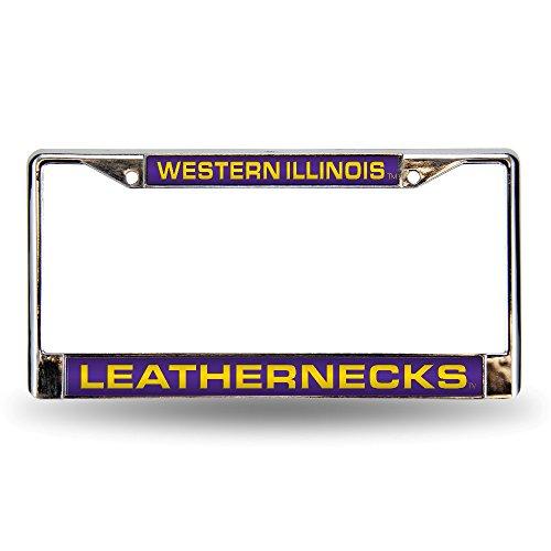 Rico Industries NCAA Western Illinois Leathernecks Laser Cut Inlaid Standard License Plate Frame, Chrome, 6