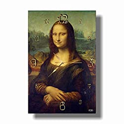 dudkaair Leonardo da Vinci Mona Lisa in The Shape of a Girl 18'' x 11 Handmade Wall Clock - Get Unique décor for Home or Office - Best Gift Ideas for Kids, Friends, Parents and Your Soul Mates