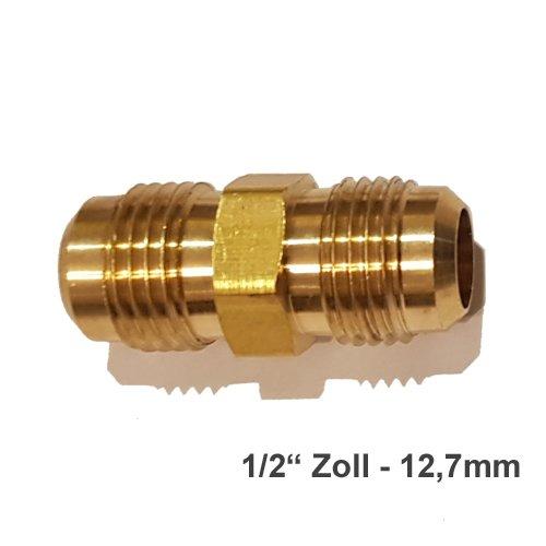 Verbindungsnippel Bördelmutter Messing 3/8' Zoll 90° Winkel Set für gebördelte Kupferleitung Kältemittelleitung DIMSTAL ®