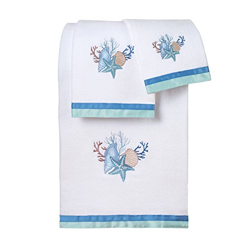 - Collections Etc Seashell Bath Towel Set, Beach Theme Decor