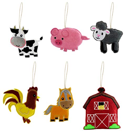 Darware My Farmyard Friends Christmas Ornament Set (6-Piece Set); Plush Holiday Tree Decoration Set with Baby Farm Animals: Sheep, Pig, Chicken, Cow, Horse and a Barn to Live in (Farm Christmas Tree Decorations)
