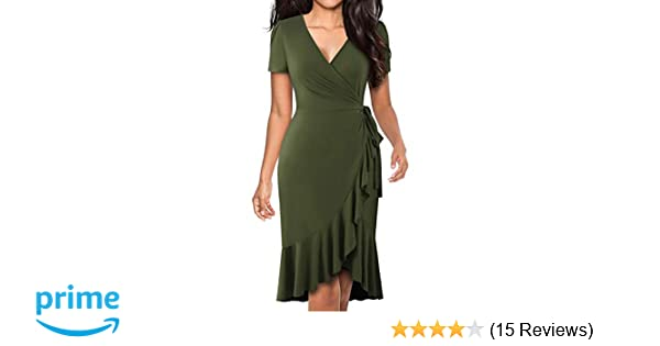 66cbccd858 BOKALY Women s Vintage Ruffle V-Neck Faux Wrap Casual Cocktail Party Dresses  at Amazon Women s Clothing store