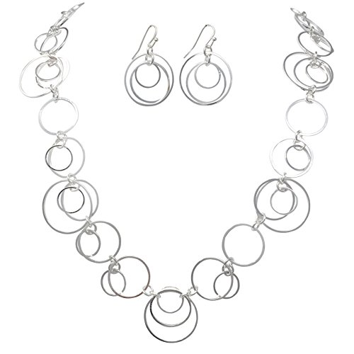 Thin Circles Lightweight Simple Boutique Necklace & Earring Set - Assorted Colors (Silver Tone)