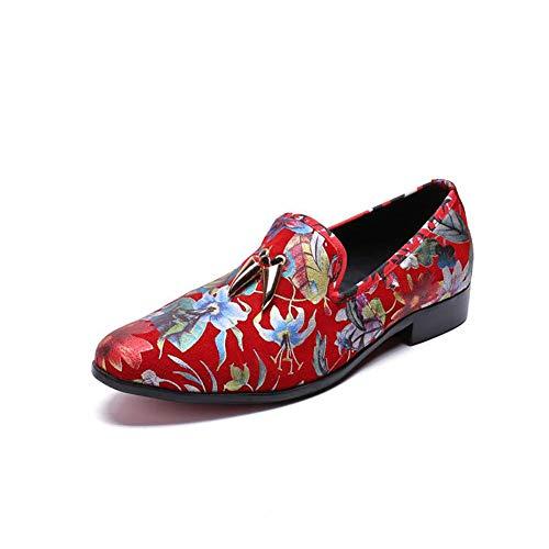 Comodidad Y Fall Mocasines Oxfords Respirable Zapatos Fiesta Spring Cuero Hombres De Informal Red Para XUwP0