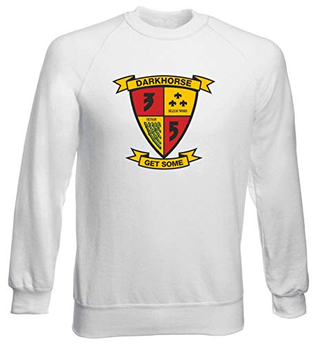T Battalion 5th Regiment shirtshock Uomo Tm0337 Bianca Usa Marine 3rd Girocollo Felpa Usmc aaAZxwrg