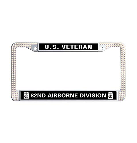 (Nuoyizo US Veteran 82nd Airborne Division Glitter Crystal License Frame tag Personalized Colorful Sparkle Rhinestones Stainless Steel Metal Waterproof Car Tag Holder)