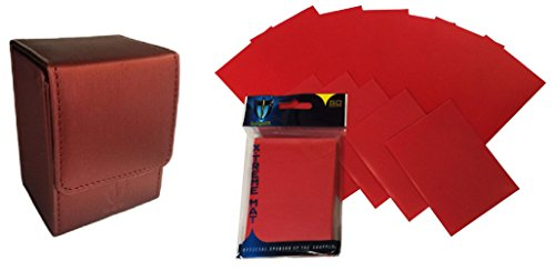 COMBO- Red Deluxe ION BOX Leatherette Deck Case + 2x 50ct Pks (100) of X-TREME RED Double Matte Deck Guard Sleeves for Collectable Gaming Cards like Magic The Gathering MTG & FORCE OF WILL ()