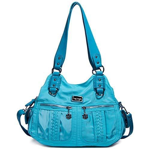 Angel Barcelo Womens Fashion Leather Handbags Tote Bag Shoulder Bags Top Handle Satchel Purse Blue (Retro Tote Leather)