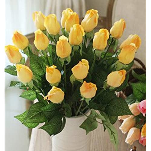 Lemon flower silk flower amazon imeshbean colorful 20 head real latex touch rose flower buds for wedding home design bouquet decoration usa lemon yellow mightylinksfo