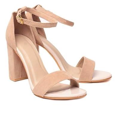2a446c1202f AnShe Girls Women s Velvet Leather Peep Toe   4 inch Block Heel Fashion  Sandals