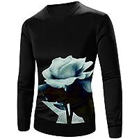 Challyhope Men Slim Fit Long Sleeve Printed Pullover Sweatshirt Solid Tee Blouse Tops