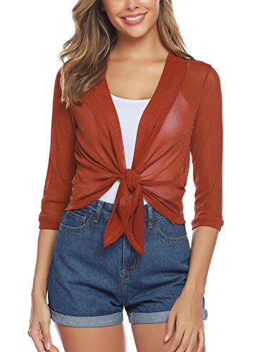 (iClosam Womens Tie Front 3/4 Sleeve Sheer Shrug Cropped Bolero Cardigan (#1Orange(Sequin), XX-Large))