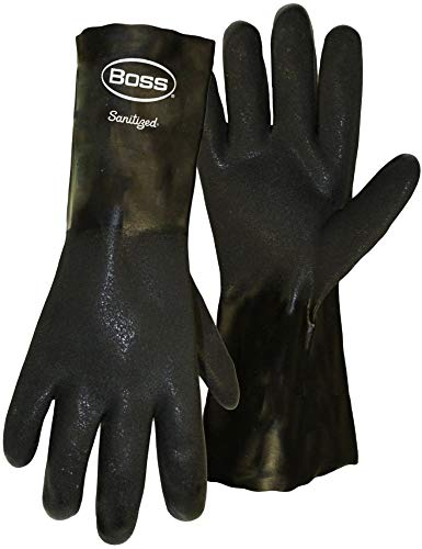 6 Pack Boss 4217 Jersey Lined PVC Dipped Gaunlet Gloves with - Large ()