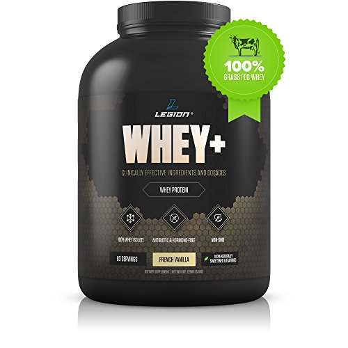 Legion Whey+ Vanilla Whey Isolate Protein Powder from Grass Fed Cows, 5lb. Low Carb, Low Calorie, Non-GMO, Lactose Free, Gluten Free, Sugar Free. Great for Weight Loss & Bodybuilding. ()