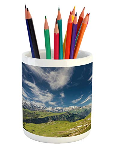 Ambesonne Switzerland Pencil Pen Holder, Panoramic View of The Swiss Alps Idyllic Nature Photography Mountain Region, Printed Ceramic Pencil Pen Holder for Desk Office Accessory, Multicolor