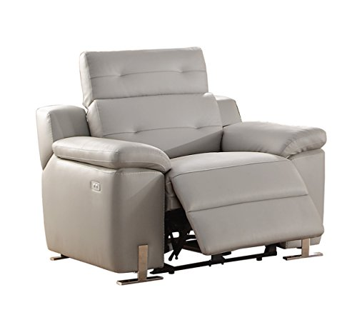 Cheap Homelegance Vortex Modern Design Power Reclining Chair Top Grain Genuine Leather Match with Adjustable Headrest, Grey