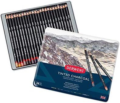Derwent 2301691 - Carboncillos en estuche de metal (24 colores): Amazon.es: Oficina y papelería