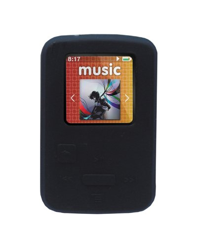 iShoppingdeals - for Sandisk Sansa Clip Zip 4GB 8GB MP3 Player 2011 Model Soft Rubber Silicone Skin Case Cover- Black