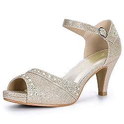 Champagne Gold Peep Toe Ankle Strap With Rhinestone Heel Sandal