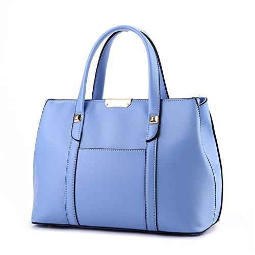 QCKJ Mode Kreuz Körper Schulter Beutel Frauen PU Soild Handtasche Große blaue