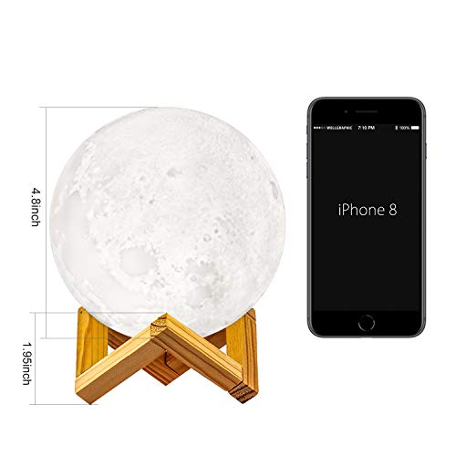 GDPETS Moon Lamp, GDPETS 3D Printing 4.8 Inches 16 Colors Moon Night Light with Stand & Remote &Touch Control and USB Rechargeable Decorative Luna Lamp