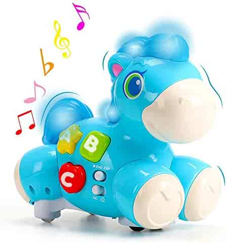 Happy Learning Horse, NEEDOON Bilingua Horse (English & Español) Musical Baby Toy with Horse Sounds and Nursery Songs Light for Chase Game and Early Education Infant Baby Toddlers (Blue)