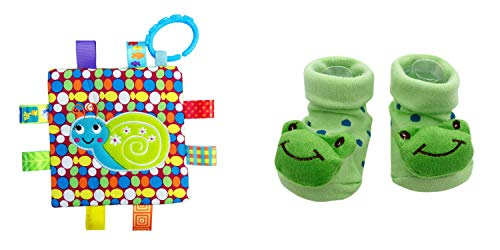New Cute Baby Kermit The Frog Socks & Little Taggie Snail Blanket Theme 2-Pack 3-12 Months w/Gift Box ()