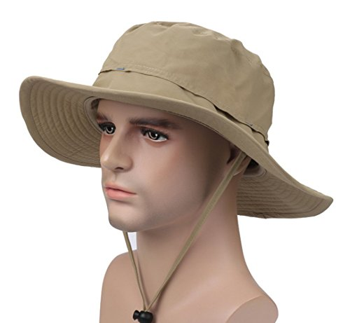 YYGIFT Unisex Wide Brim Sun Caps Sunblock Foldable Fishing Hiking Hunting Outdoor Hats UPF50+ Sun Protective Hats - Khaki