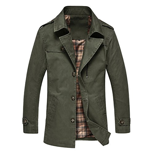 URBANFIND Men's Slim Fit Epaulet Shoulder Thin Trench Coats US L Army Green