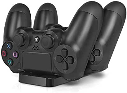 PS4 Charging Station - Dual USB Charger Dock Station Cradle Stand Base for Sony Playstation 4 PS4 Dual Shock Wireless Controller with USB Cable by TNP Products: Amazon.es: Videojuegos