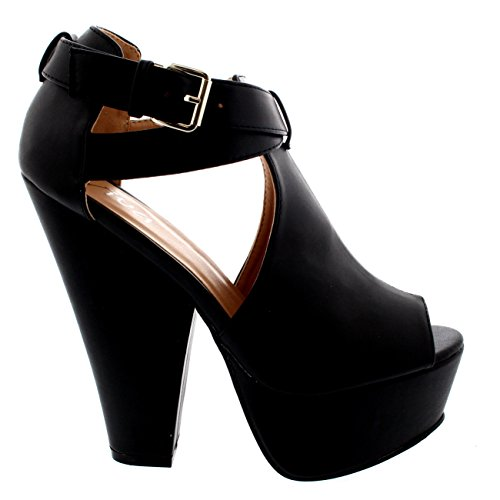 Heels Toe Platform Buckle Party Black Womens Suede Evening Faux Peep Chunky Viva ZxvUY