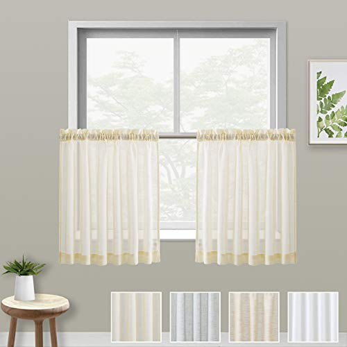 (XWTEX Pale Yellow Kitchen Tier Curtains Rod Pocket Linen Like Privacy Semi Sheer Drapes Half Window Curtain Panels for Bathroom, 2 Pieces, 36