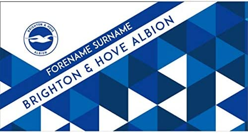 Official Personalised Brighton & Hove Albion FC Towel - Geometric Design - 80 x 160