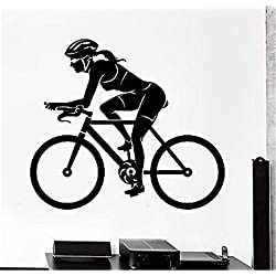 colaru DIY Removable Vinyl Decal Mural Letter Wall Sticker Sport Bike Bicycle Woman Female Cyclelist Exercise