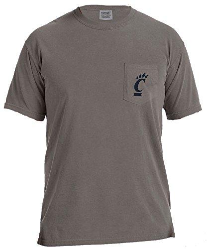 NCAA Cincinnati Bearcats Adventures Short Sleeve Comfort Color Pocket Tee, Large, Grey
